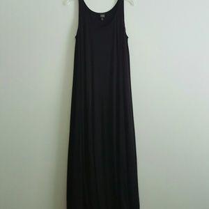 Eileen Fisher Black 100% Silk Maxi Dress Size L